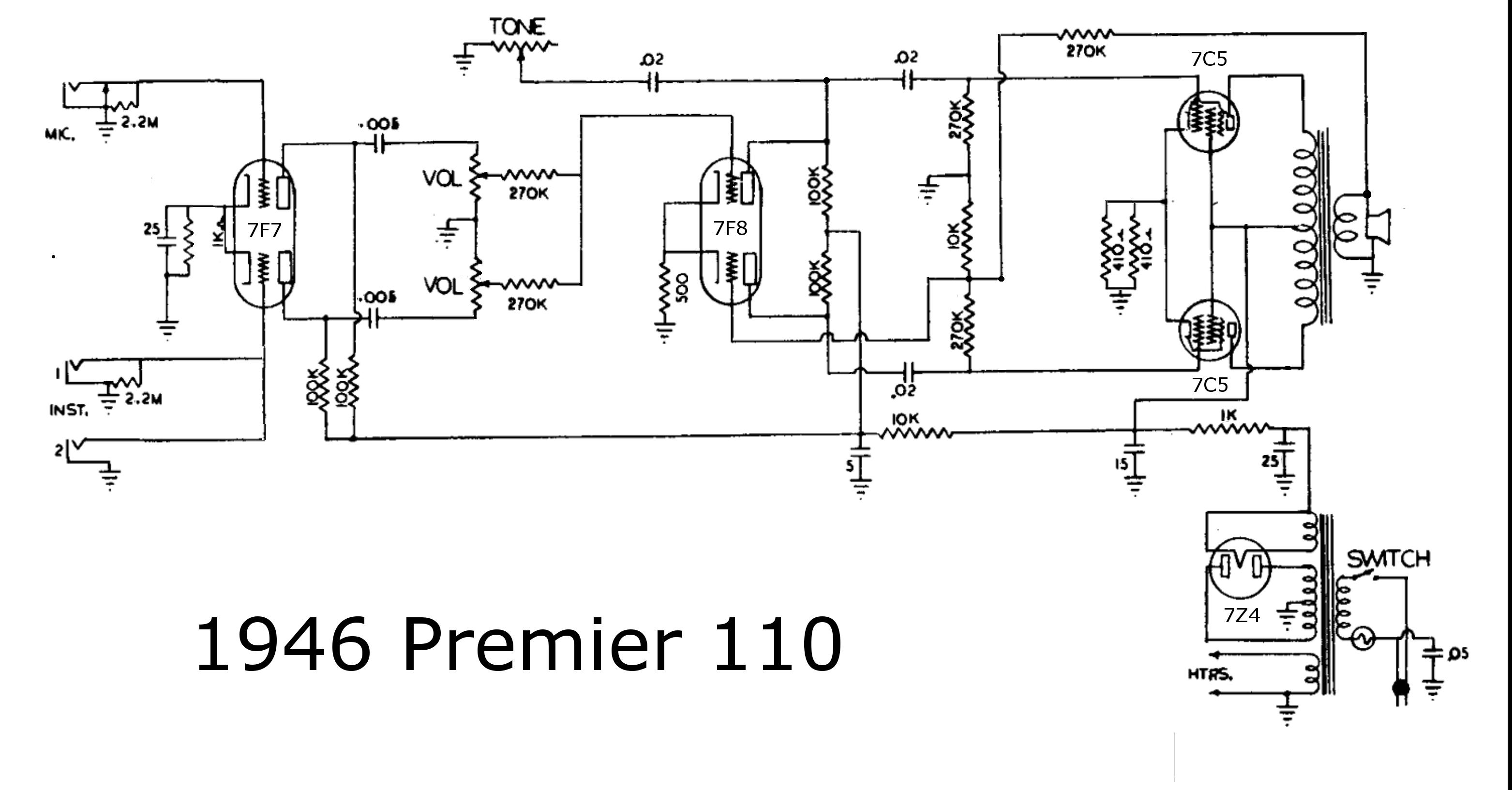 kustom amp schematic prowess amplifiers - misc - schematics - premier 110 - all ...