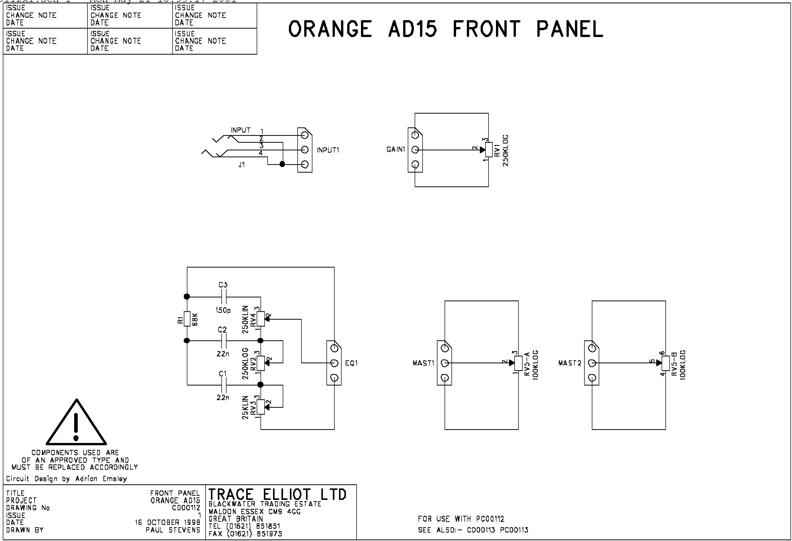 Prowess Amplifiers - Orange - Schematics - Ad15