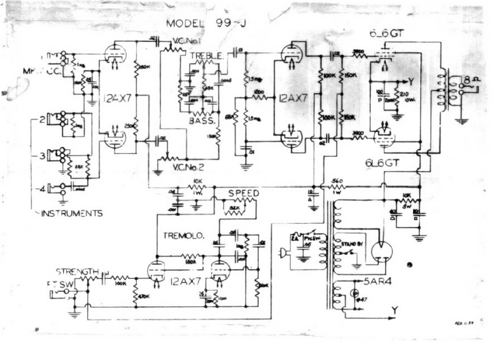 prowess amplifiers - misc - schematics - guild 99 j