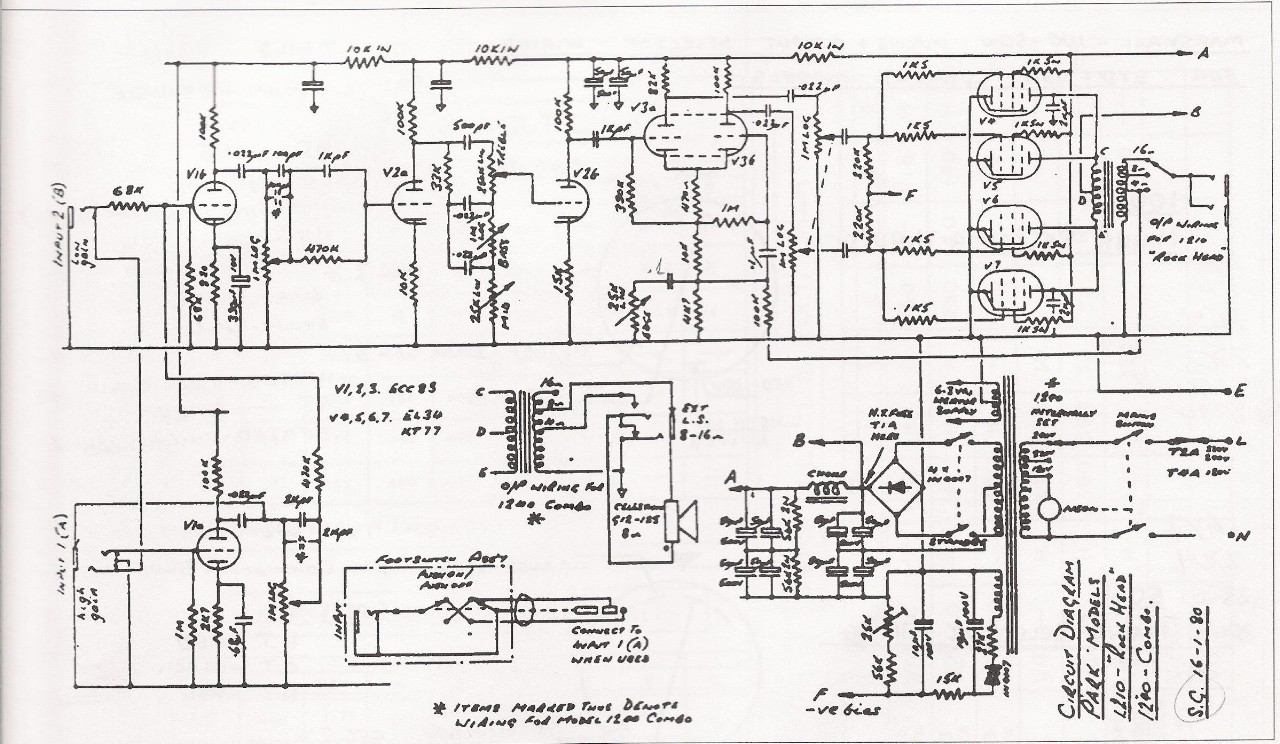 Prowess Amplifiers - Misc - Schematics - Park 1210 Rock Head ... on motor schematics, radio schematics, speaker schematics, generator schematics, wire schematics, ic circuit schematics, modem schematics, led schematics, orange amp schematics, robot schematics, guitar schematics, valve schematics, ulf receiver schematics, audio circuit schematics, electronic circuit schematics, astable multivibrator schematics, computer schematics, heathkit schematics, transformer schematics, tube schematics,