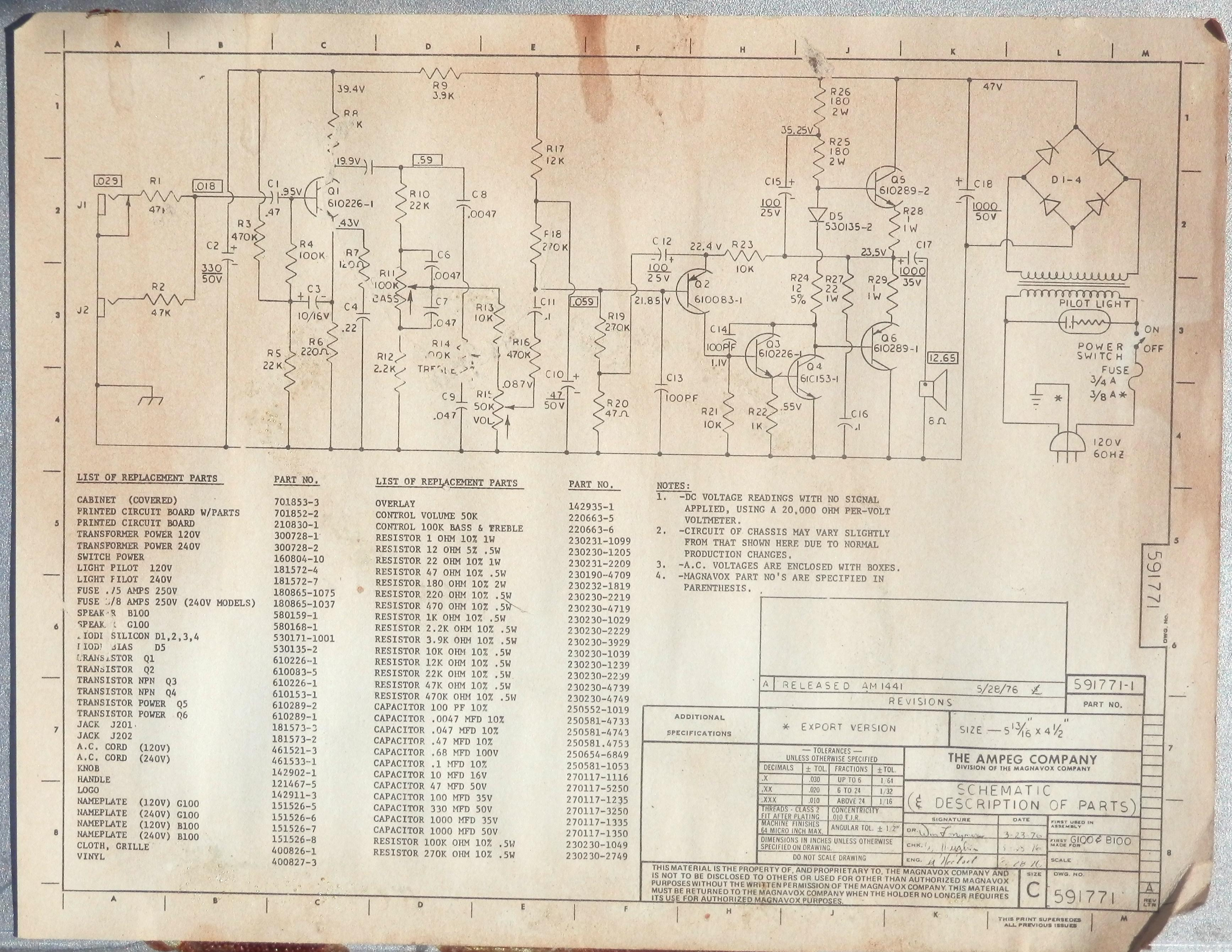 Are Vintage ampeg schematics final, sorry