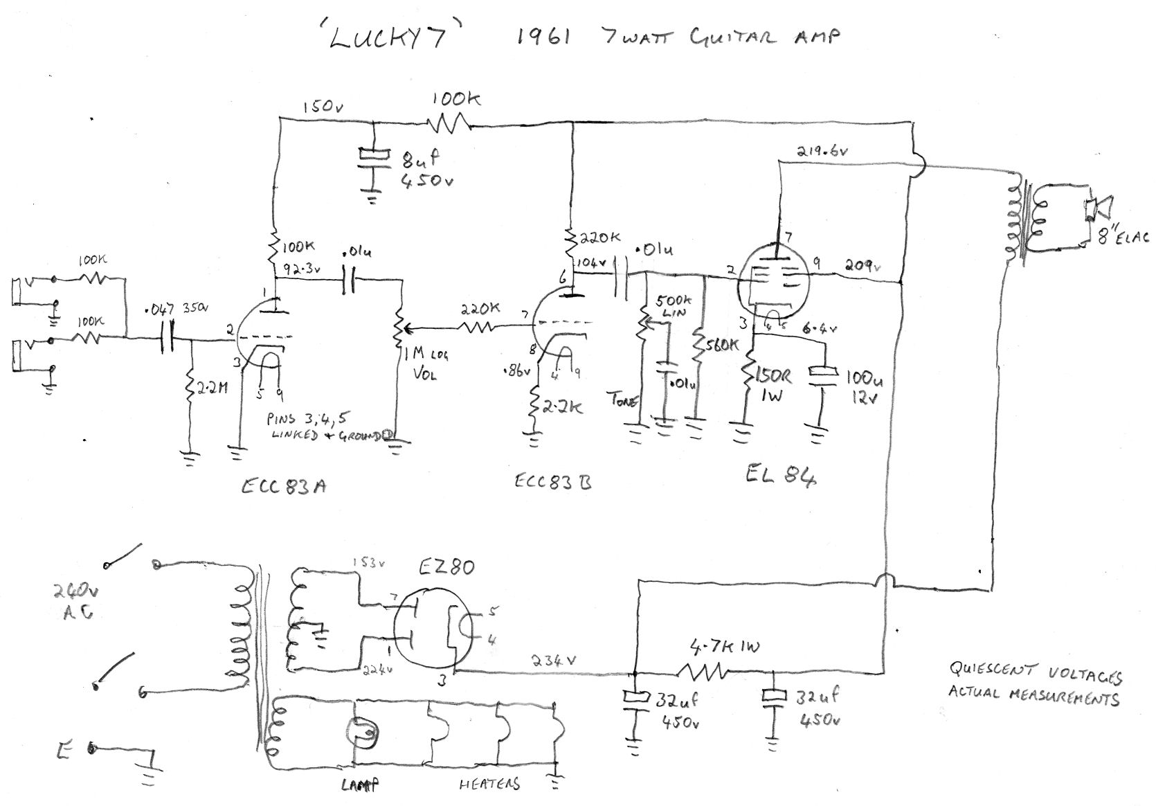 Simple Electric Guitar Amp Schematic All Kind Of Wiring Diagrams Amplifier Diagram 1 Watt Tube Get Free Image About Switcher